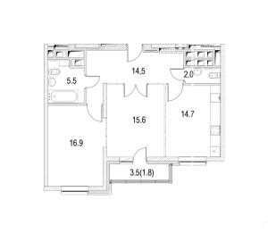 Планировка 2-комнатной квартиры в Фестиваль Парк
